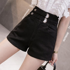 High Waist Sashes Crimping Denim Shorts Jeans