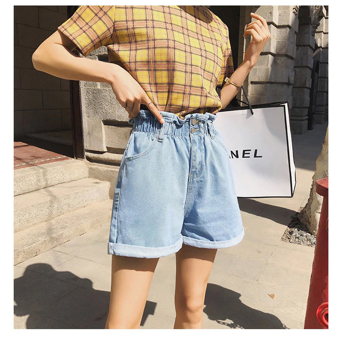 Elastic High Waist Denim Short Jeans