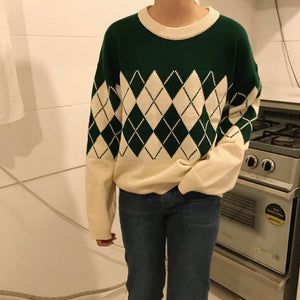 Vintage Diamond Pattern Knitted Sweater