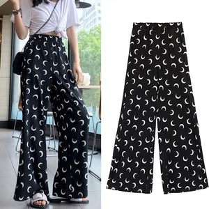 High Waist Moon Printed Casual Wide Leg Pants