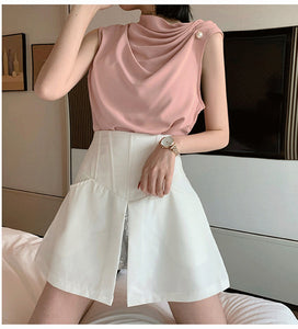 Beading Sleeveless Chiffon Blouse Shirt