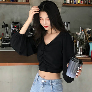 Sexy Elegant V-Neck Long Puff Sleeve Crop Tops