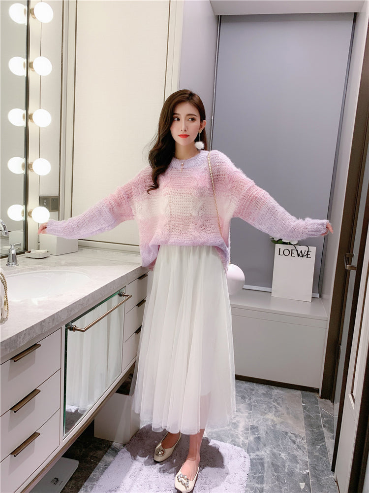 Gradient Color Loose Knitted Sweater