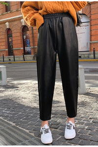 Elastic Waist Black Leather Pencil Pants