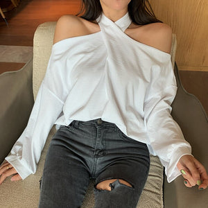 Cross Neck Lantern Sleeve Cropped Shirt