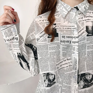 Vintage Newspaper Printed Turn Down Collar Blouse Shirt