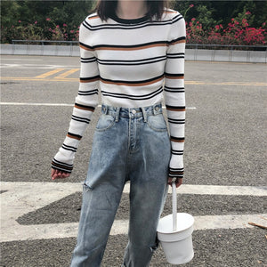 Striped Basic Slim Sweater