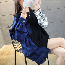 Side Plaid Patchwork O-Neck Sweatshirt