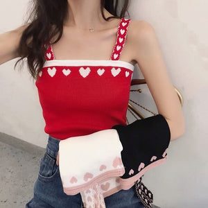 Heart Shape Printed Knitted Camisole Tank Tops