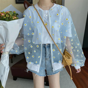 Daisy Flower Thin Transparent Casual Jacket