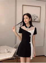 Two Colors with Stand Mesh Collar Dress