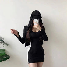Two Piece Cardigan Slim Skirt With Hooded