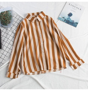 Stripe Chiffon Long Sleeve Blouse Shirt