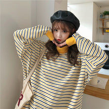 Yellow Turtleneck Loose Striped Sweater