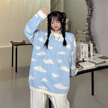 Vintage Clouds Printed Loose Sweater