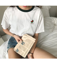 Fruit Embroidered Sleeve Female T-Shirt