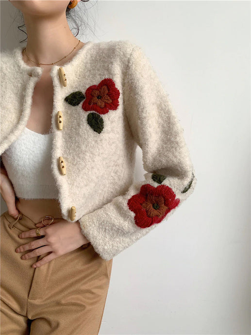 Red Floral Embroidery Long Sleeve Short Knitted Cardigan