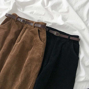 High Waist Wide Leg Corduroy Long Pants with Belt