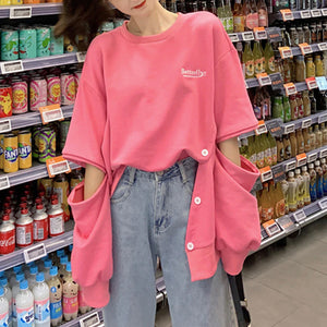 Side Split Button Hollow Out Long Sleeve Thin Sweatshirt