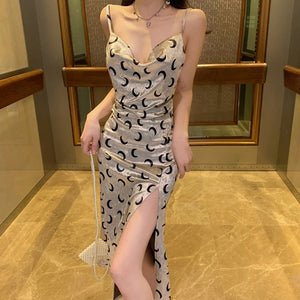 Moon Pattern Slim Sexy Open Back Dress