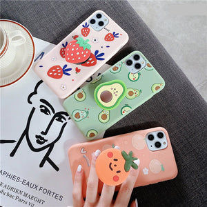Cute Fruits Cartoon Plus Holder Case For iPhone