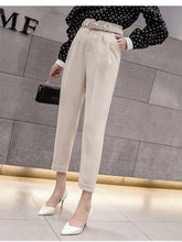 High Waist Ankle Length Elegant Office Pants with Belt