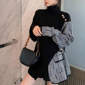 Retro Turtleneck Plaid Combination Knitted Sweater