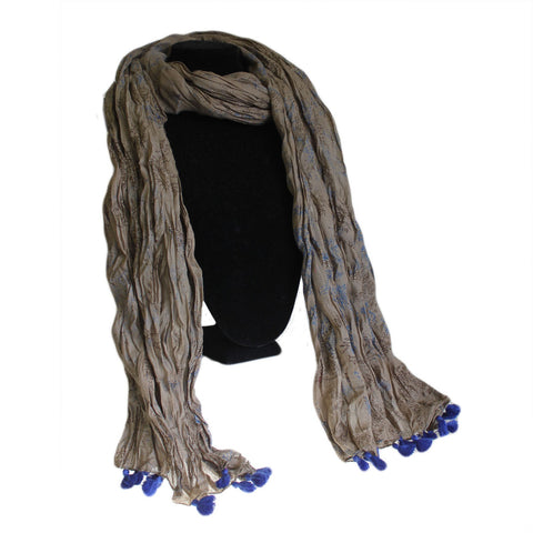 Antique Tasseled Scarf - Grey Blue