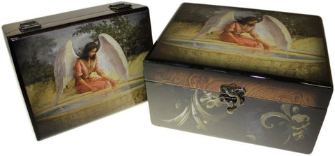 Set of 2 Angel Wooden Boxes - Reflective Angel