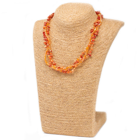 Chipstone & Bead Necklace -Orange Coral