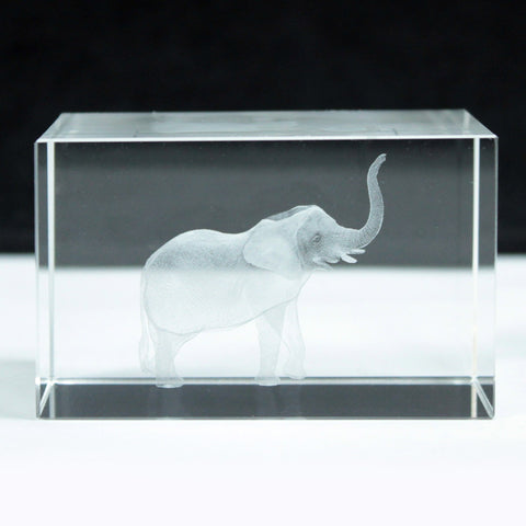 Laser Crystal Block - Elephant