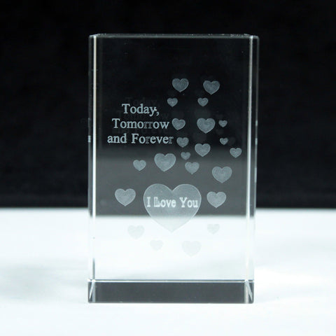 Laser Crystal Block - Heart Today