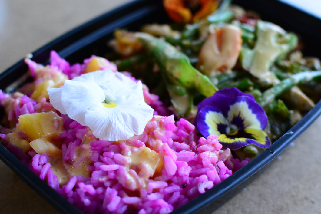 Dragon Fruit Rice &  Miso Tofu/Veggie Bowl