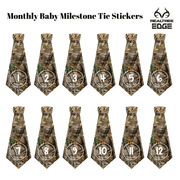 Wholesale: Newborn Boy Monthly Milestone Tie Stickers - Realtree Camo - Tasty Tie