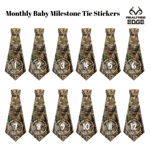 Wholesale: Newborn Boy Monthly Milestone Tie Stickers - Realtree Camo