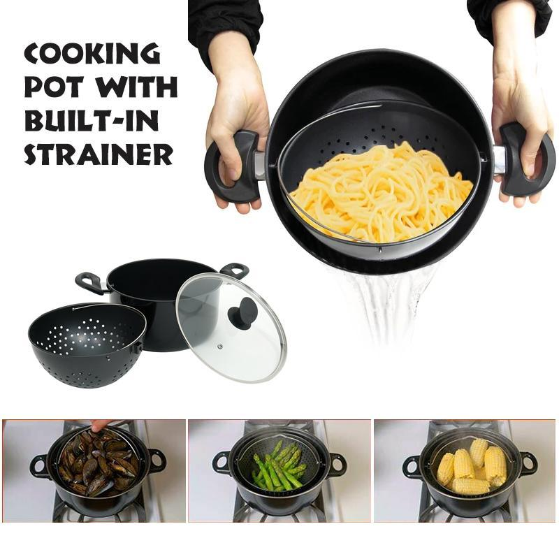 Cooking Pot With Built-In Strainer - Best Helper For Kitchen - mygeniusgift