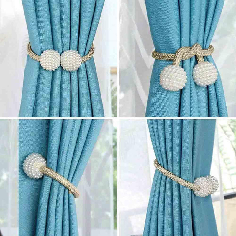 Hirundo Pearl Curtain Tiebacks with Strong Magnetic Clips, 2 pcs