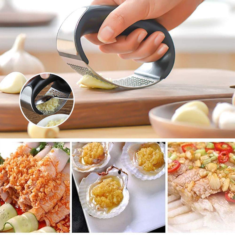 Bequee Premium Stainless Steel Garlic Press, Garlic Press Cooking Tool - mygeniusgift