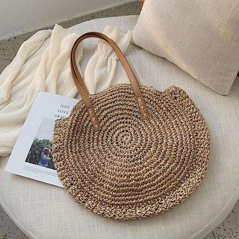 Mygeniusgift™ Hand Woven Round Ladies Bohemian Summer Straw Beach Bag - mygeniusgift
