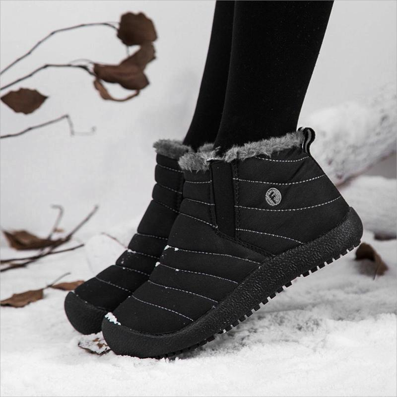 Unisex Waterproof Artificial Fur Lined Slip On Boots - mygeniusgift