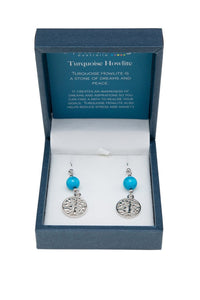 TURQUOISE HOWLITE TREE OF LIFE EARRINGS