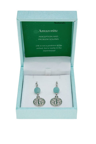 AMAZONITE - TREE OF LIFE EARRINGS
