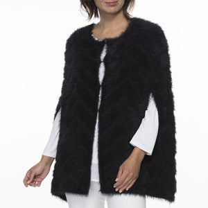 CAPE FAUX FUR KNIT