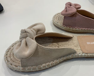 LOTTIE FAUX SUEDE BOW ESPADRILLE SLIDE