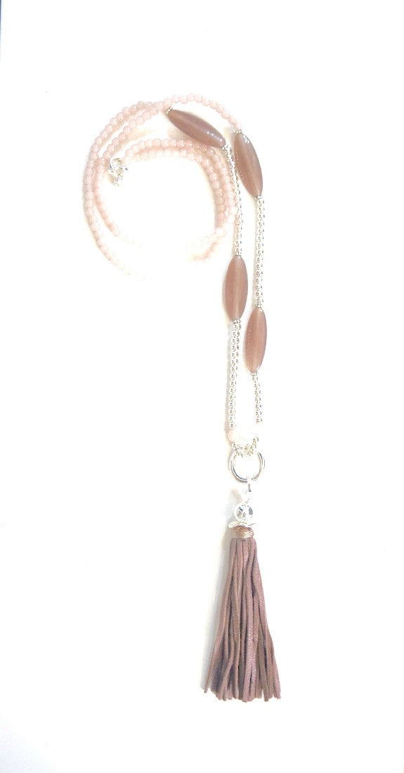 SEMI PRECIOUS TASSLE NECKLACE