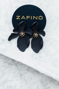 LARGE ORCHID - BLACK EARRINGS