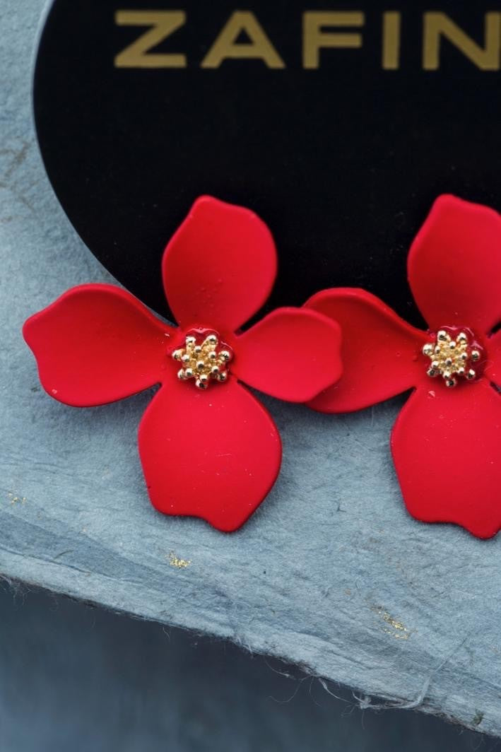 ORCHID EARRINGS RED (SMALL)