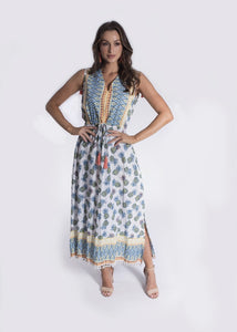 LEON MAXI DRESS PINEAPPLE PRINT