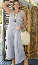 ELKIE JUMPSUIT IN CHARCOAL STRIPE