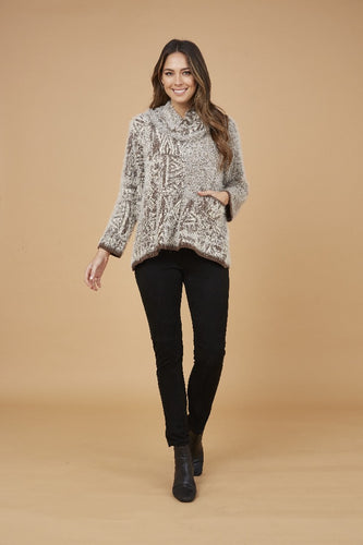 SOFT JUMPER WITH FRONT POCKET AND SCARF INCLUDED